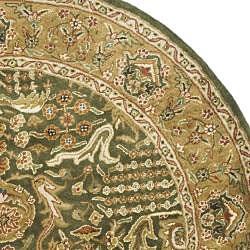 Safavieh Handmade Classic Light Green/ Gold Wool Rug (8' Round) - Thumbnail 1