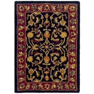 Safavieh Handmade Heritage Heirloom Black/ Red Wool Rug (2' x 3')