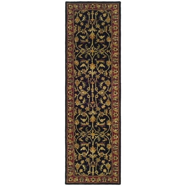 "Safavieh Handmade Heritage Timeless Traditional Black/ Red Wool Runner Rug - 2'3"" x 4'"