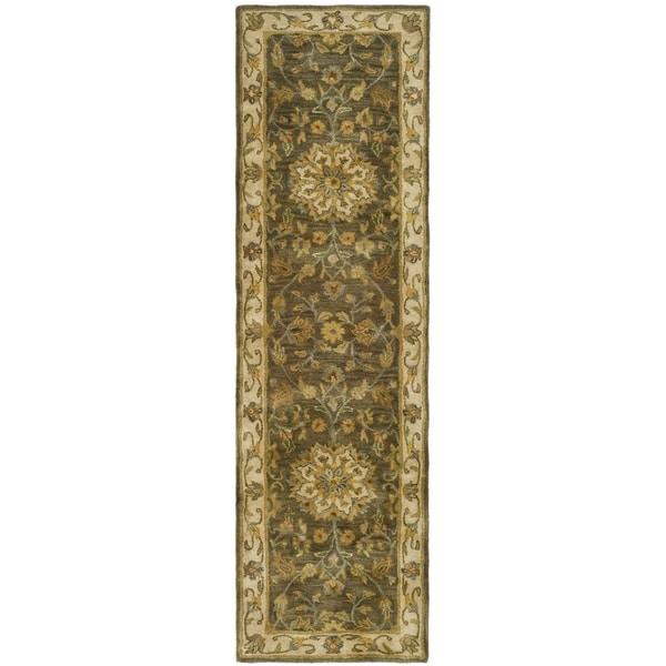 Safavieh Handmade Heritage Timeless Traditional Taupe/ Ivory Wool Runner (2'3 x 4')