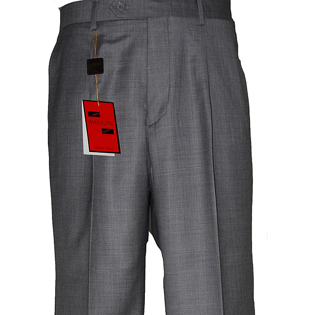 Men's Brown Single-pleat Wool Dress Pants - Free Shipping Today ...