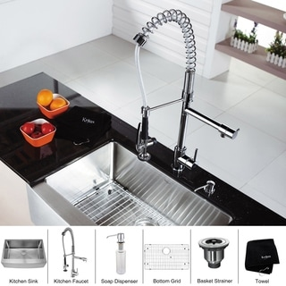 KRAUS 36 Inch Farmhouse Single Bowl Stainless Steel Kitchen Sink with Commercial Style Kitchen Faucet and Soap Dispenser