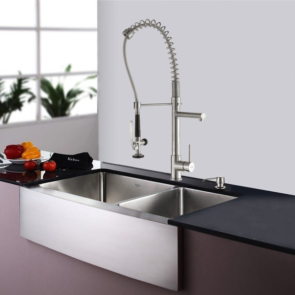 KRAUS 33 Inch Farmhouse Double Bowl Stainless Steel Kitchen Sink With  Commercial Style Kitchen Faucet And Soap Dispenser   Free Shipping Today ...
