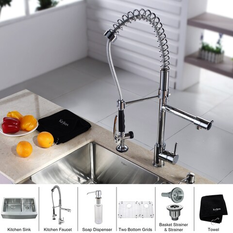 KRAUS Farmhouse Double Bowl Stainless Steel Kitchen Sink, KPF-1602 Commercial Pull Down Kitchen Faucet, Soap Dispenser