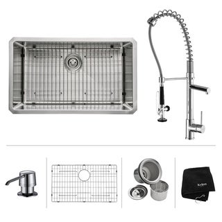 KRAUS 32 Inch Undermount Single Bowl Stainless Steel Kitchen Sink with Commercial Style Kitchen Faucet and Soap Dispenser