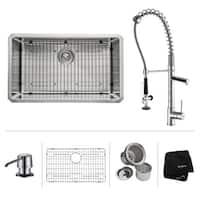 KRAUS Undermount Single Bowl Stainless Steel Kitchen Sink, KPF-1602 Commercial Pull Down Kitchen Faucet, Soap Dispenser