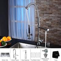 KRAUS Undermount Double Bowl Stainless Steel Kitchen Sink, KPF-1602 Commercial Pull Down Kitchen Faucet, Soap Dispenser