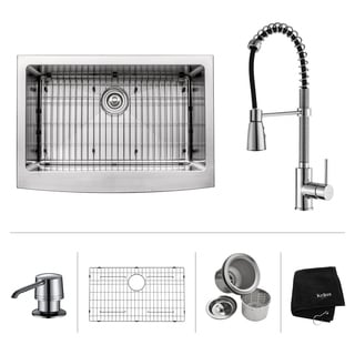 KRAUS 30 Inch Farmhouse Single Bowl Stainless Steel Kitchen Sink with Commercial Style Kitchen Faucet and Soap Dispenser