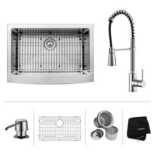 KRAUS Farmhouse Single Bowl Stainless Steel Kitchen Sink, KPF-1612 Commercial Pull Down Kitchen Faucet, Soap Dispenser