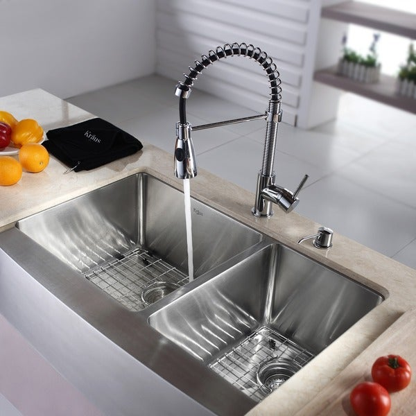kraus 36 inch farmhouse double bowl stainless steel kitchen sink with commercial style kitchen faucet and kraus 36 inch farmhouse double bowl stainless steel kitchen sink      rh   overstock com