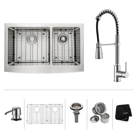 Kraus 3-in-1 Set Farmhouse Kitchen Sink, Pulldown Faucet, Dispenser