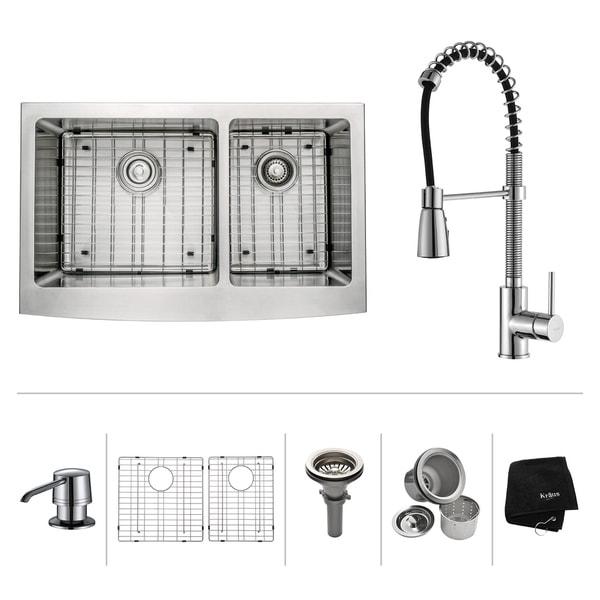 Kraus 3-in-1 Set Farmhouse Kitchen Sink, Pulldown Faucet, Dispenser