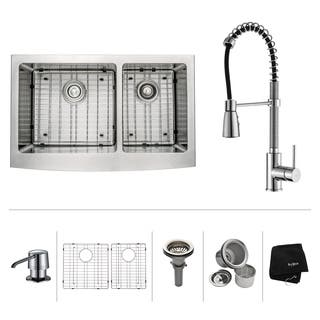 KRAUS 36 Inch Farmhouse Double Bowl Stainless Steel Kitchen Sink with Commercial Style Kitchen Faucet and Soap Dispenser|https://ak1.ostkcdn.com/images/products/4655345/P12579751.jpg?impolicy=medium