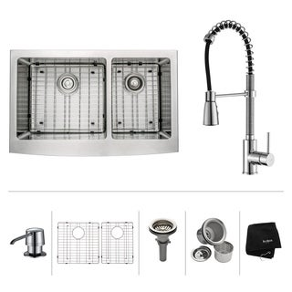 KRAUS Farmhouse Double Bowl Stainless Steel Kitchen Sink, KPF-1612 Commercial Pull Down Kitchen Faucet, Soap Dispenser