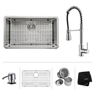 KRAUS Undermount Single Bowl Stainless Steel Kitchen Sink, KPF-1612 Commercial Pull Down Kitchen Faucet, Soap Dispenser