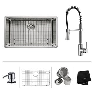 KRAUS 30 Inch Undermount Single Bowl Stainless Steel Kitchen Sink with Commercial Style Kitchen Faucet and Soap Dispenser