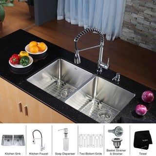 KRAUS 33 Inch Undermount Double Bowl Stainless Steel Kitchen Sink with Commercial Style Kitchen Faucet and Soap Dispenser