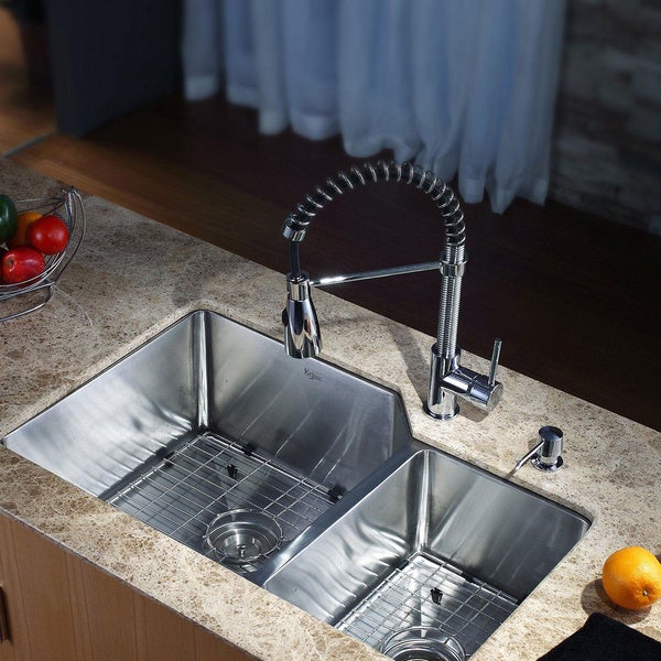 Kraus Kitchen Sink Double Bowl And Faucet Combo