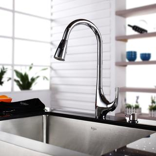 KRAUS 36 Inch Farmhouse Single Bowl Stainless Steel Kitchen Sink with High Arch Pull Down Kitchen Faucet and Soap Dispenser