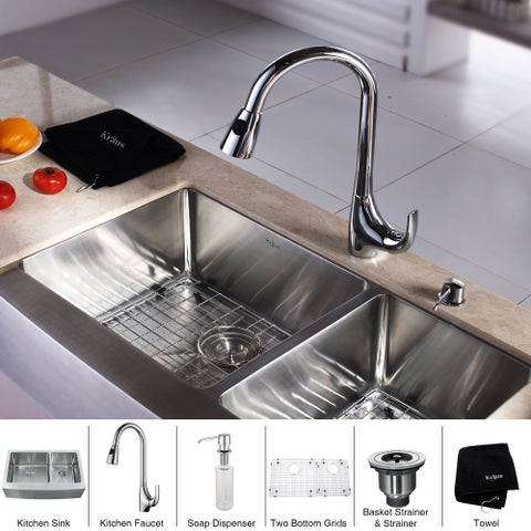KRAUS Farmhouse Double Bowl Stainless Steel Kitchen Sink, KPF-1621 High Arch Pull Down Kitchen Faucet, Soap Dispenser