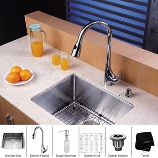 KRAUS 23 Inch Undermount Single Bowl Stainless Steel Kitchen Sink with High Arch Pull Down Kitchen Faucet and Soap Dispenser