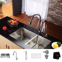 KRAUS 33 Inch Undermount Double Bowl Stainless Steel Kitchen Sink with High Arch Pull DownKitchen Faucet and Soap Dispenser
