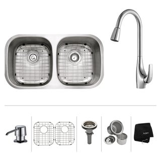KRAUS 32 Inch Undermount Double Bowl Stainless Steel Kitchen Sink with High Arch Pull Down Kitchen Faucet and Soap Dispenser
