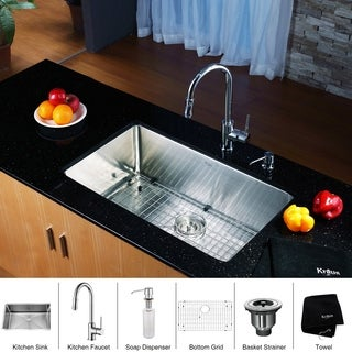 KRAUS 32 Inch Undermount Single Bowl Stainless Steel Kitchen Sink with Pull Down Kitchen Faucet and Soap Dispenser
