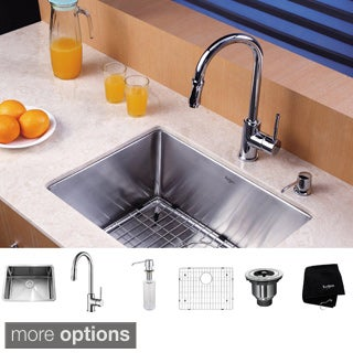 KRAUS 23 Inch Undermount Single Bowl Stainless Steel Kitchen Sink with Pull Down Kitchen Faucet and Soap Dispenser