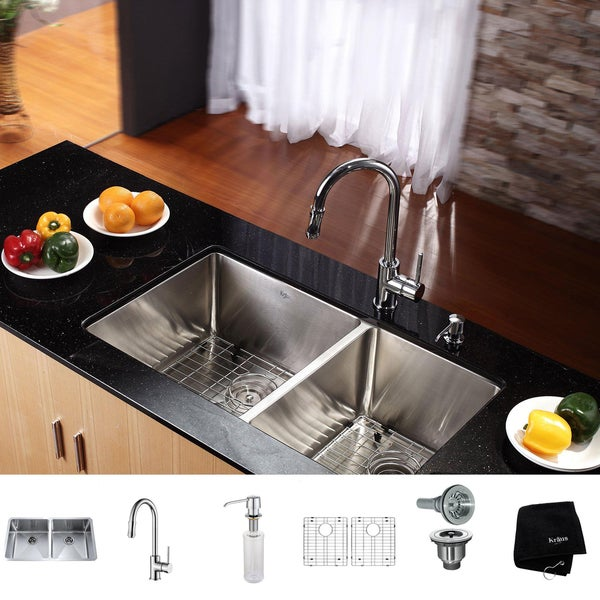 KRAUS 33 Inch Undermount Double Bowl Stainless Steel Kitchen Sink with Pull Down Kitchen Faucet and Soap Dispenser