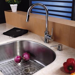 KRAUS 23 Inch Undermount Single Bowl Stainless Steel Kitchen Sink with Pull Down Kitchen Faucet and Soap Dispenser in Chrome