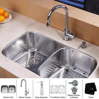 KRAUS 32 Inch Undermount Double Bowl Stainless Steel Kitchen Sink with Pull Down Kitchen Faucet and Soap Dispenser in Chrome