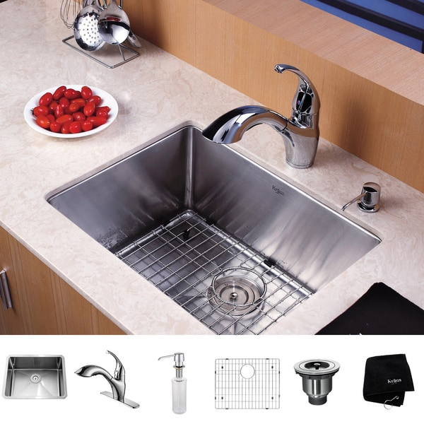 Kraus Kitchen Combo Set Stainless Steel 23-inch Undermount Sink with Faucet