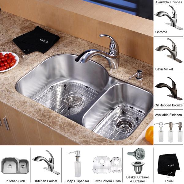Shop Kraus Kitchen Combo Set Stainless Steel 32 Inch Undermount Sink