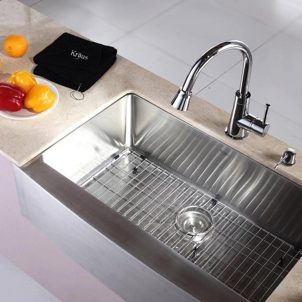 Kraus Farmhouse Sink : Kraus Stainless Steel Farmhouse Kitchen Sink, Brass Faucet/ Dispenser ...