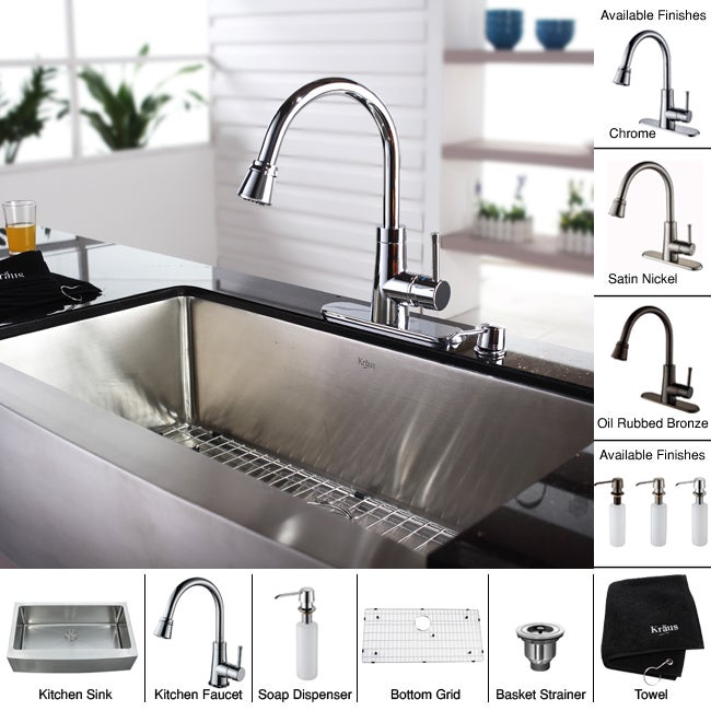 Shop Kraus Kitchen Combo Set Stainless Steel 36 Inch Farmhouse Sink