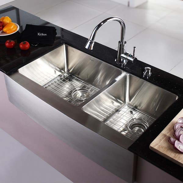 Kraus Stainless Steel Farmhouse Kitchen Sink Single Lever