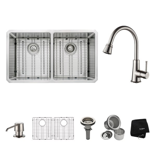 kraus kitchen combo set stainless steel large undermount sink with faucet free shipping today. Black Bedroom Furniture Sets. Home Design Ideas