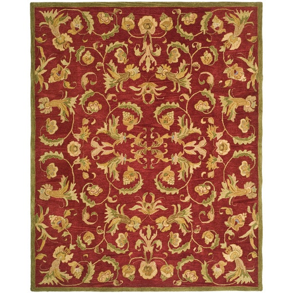 Safavieh Handmade Anatolia Oriental Traditional Burgundy Hand-spun Wool Rug (9'6 x 13'6)