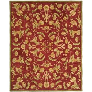 Safavieh Handmade Anatolia Oriental Traditional Burgundy Hand-spun Wool Rug (9'x12')