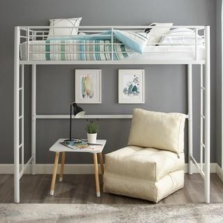 White Metal Twin Loft Bed