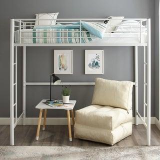 White Metal Twin Loft Bunk Bed