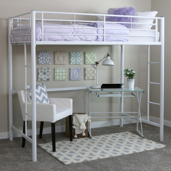 96aad3190b209 Shop Taylor   Olive Abner White Metal Twin Loft Bed - Free Shipping ...