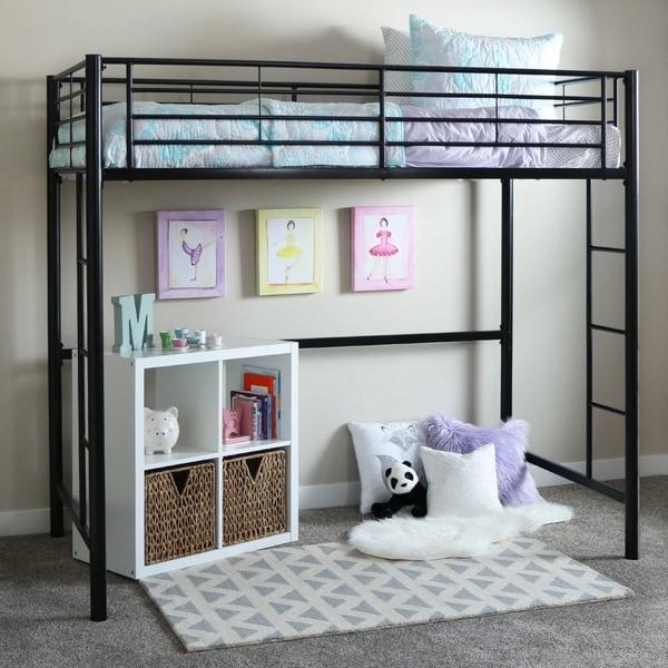 Taylor & Olive Abner Black Metal Twin Loft Bed