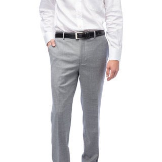Men's Medium Grey Flat-front Wool Pants