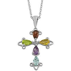 Fremada Sterling Silver Multi-gemstone Cross Necklace