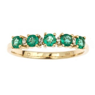 Anika and August 14k Yellow Gold Emerald and Diamond Ring