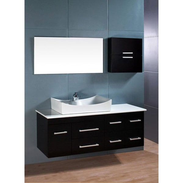 Design Element Springfield Contemporary Wall Mount Bathroom Vanity Set