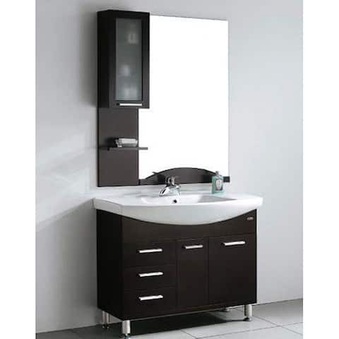 Design Element Serria Contemporary Bathroom Vanity w/ Side Cabinet Set