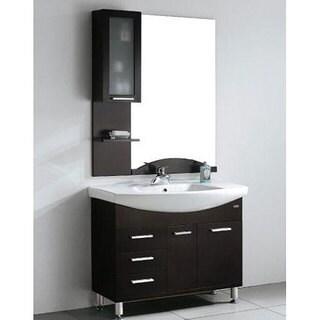 Design Element Serria Contemporary Bathroom Vanity w/ Side Cabinet Set